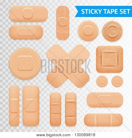 Medical adhesive waterproof aid band plaster strips varieties icons collection with transparent background realistic vector illustration