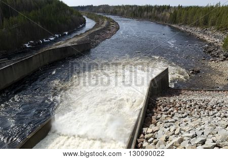 Water power plant outlet from a river in the North of Sweden.