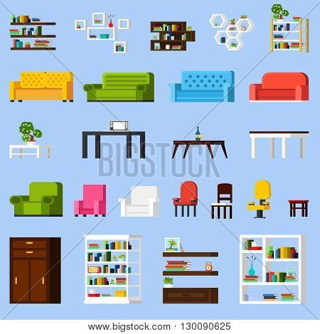Interior elements orthogonal icon set of different bookshelves sofas tables armchairs chairs and racks isolated vector illustration