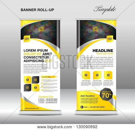 Roll up banner stand template stand design banner template Yellow banner advertisement flyer template