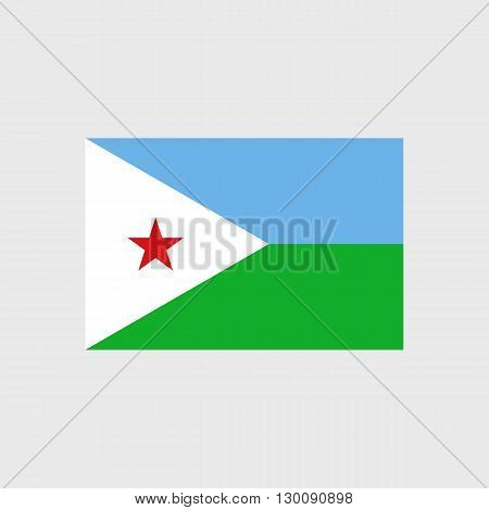 Set of vector icons with Djibouti flag