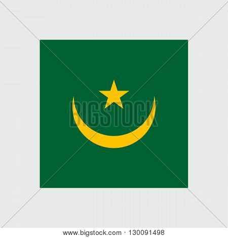 Set of  vector icons with Mauritania flag