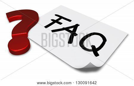 the word faq on paper sheet and question markl - 3d rendering