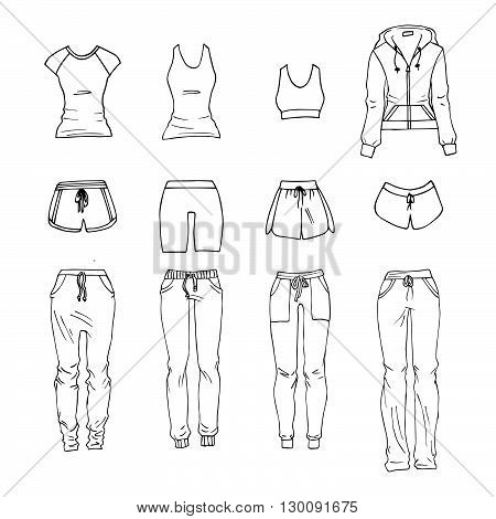 Hand drawn vector clothing set. Different models of sportswear.