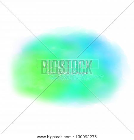 Vector watercolor spot. Watercolor background. Colorful abstract texture. Bright watercolor stain. Vector art banner. Blue and green colors