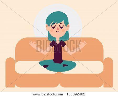 Zen Girl Meditating On Sofa