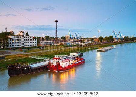 BRATISLAVA, SLOVAKIA - MAY 16, 2016: Harbour on river Danube in Bratislava city, Slovakia on May 16, 2016.