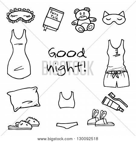 Good night set. Hand drawn vector icons.