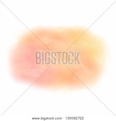 Vector watercolor spot. Watercolor background. Colorful abstract texture. Bright watercolor stain. Vector art banner. Peach colors
