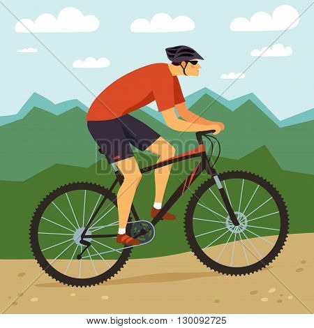 Racing cyclist in action. Fast mountain biker and mountain landscape. Editable vector illustration.