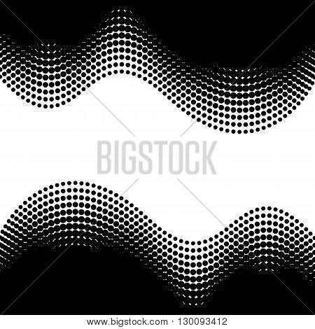Black vector halftone design elements isolated on white