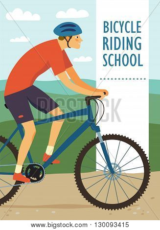 Boy cyclist in action on landscape background. Colorful poster for bicycle riding school or other cycling event. Editable vector illustration