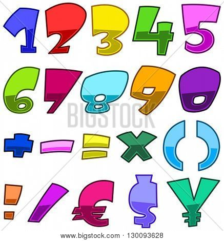 Bright cartoon numbers, math symbols and currency symbols set