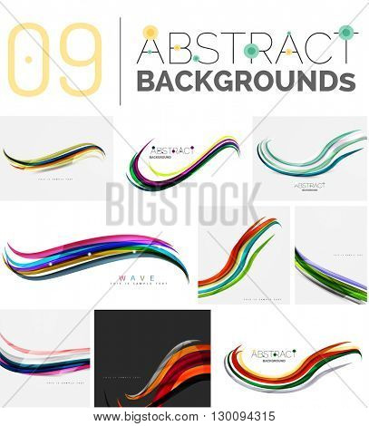 Collection of dynamic waves. Multicolored curve lines with light and shadow effects. Business vector illustration. Presentation banner and business card message design template set