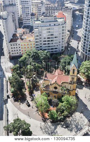 Sao Paulo Brazil August 08 2011: aerial view of downtown Sao Paulo