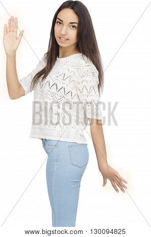 Happy Young Woman gesturing high five Isolated On White Background