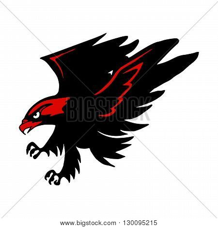 Black and red logo hawk. Eps 10