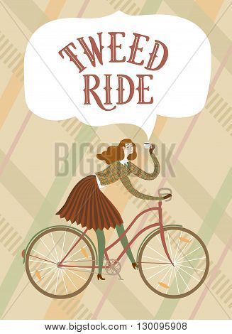 Tweed run cartoon poster. City style elegant woman riding a bicycle.Tweed ride vintage title. Cartoon cyclist illustration for your design.