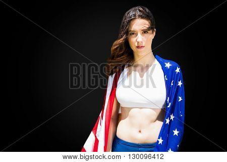 Portrait of american sportswoman is posing