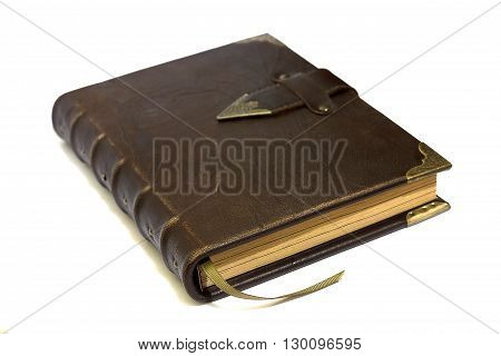 Brown leather notebook old fashioned hardcover isolated
