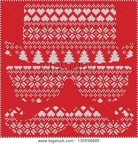 Hipster pattern in Scandinavian Nordic winter stitching  knitting  christmas style with mustache, geek sunglasses and hat with christmas presents, snow, stars, decorative ornaments on red background