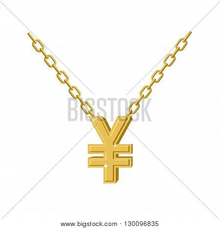 Gold Yen Necklace Decoration Chain. Expensive Jewelry Symbol Of Chinese Money. Accessory Precious Ye