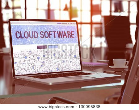 Cloud Software Concept Closeup on Landing Page of Laptop Screen in Modern Office Workplace. Toned Image with Selective Focus. 3D Render.