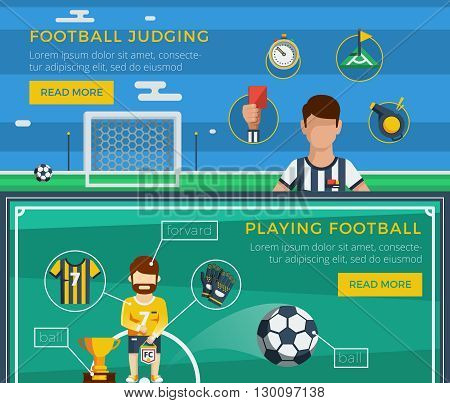 Football banner set with examples of an ordinary equipment of the judge and the player vector illustration
