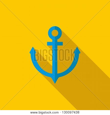 Anchor icon in flat style with long shadow. Nautical sign