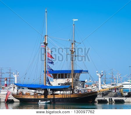 SOCHI, RUSSIA - 16 MAY, 2014. The British schooner Johanna Lucretia. Large sailing ships in the port of Sochi.