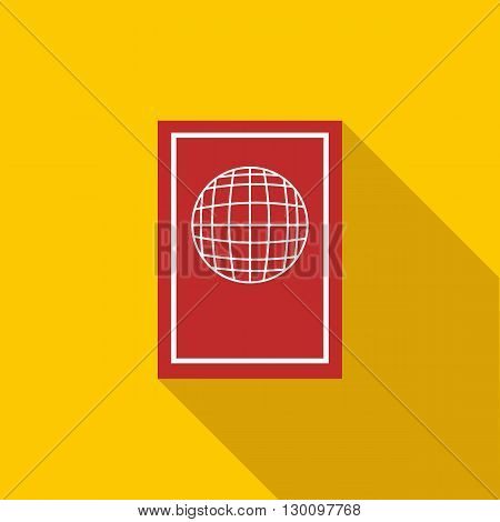 Passport icon in flat style with long shadow. Document and citizenship sign