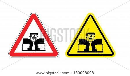 Warning Sign Of Attention Angry Boss. Dangers Yellow Sign Of Violence At Work. Ferocious Director On