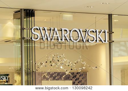 ROSTOCK, GERMANY - MAY 12, 2016: Swarovski store. Swarovski AG is an Austrian producer of luxury cut lead glass, headquartered in Wattens, Austria.