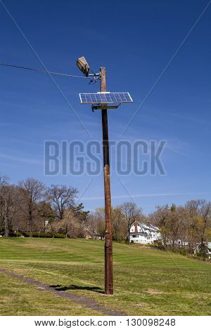 A solar light pole at Flood's Hill in New Jersey