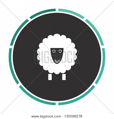Sheep Simple flat white vector pictogram on black circle. Illustration icon
