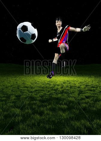Ball and soccer player on a background of green grass.3d render