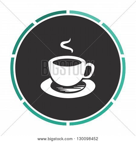Hot coffe Simple flat white vector pictogram on black circle. Illustration icon
