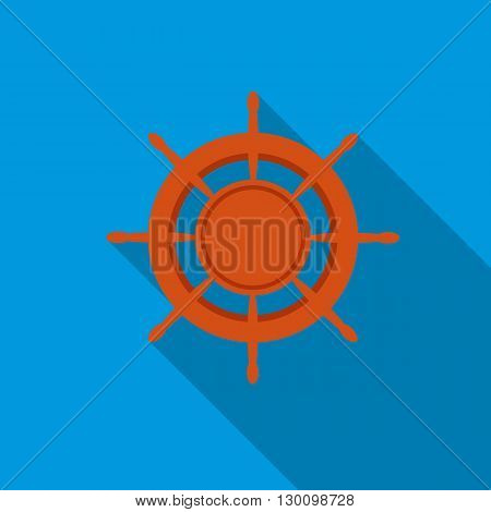 Ship wheel icon in flat style with long shadow. Nautical symbol