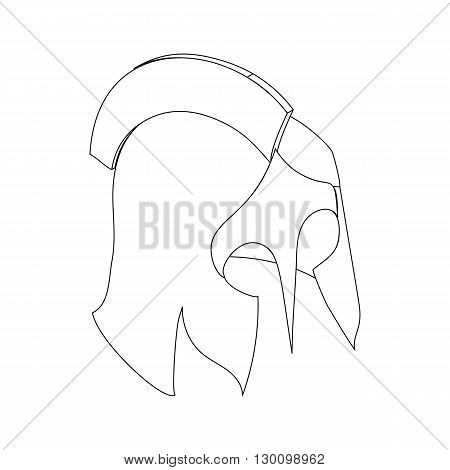 Roman or Greek helmet icon, isometric 3d style isolated on white background. Black illustration