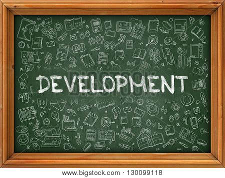 Development Concept. Modern Line Style Illustration. Development Handwritten on Green Chalkboard with Doodle Icons Around. Doodle Design Style of  Development Concept.