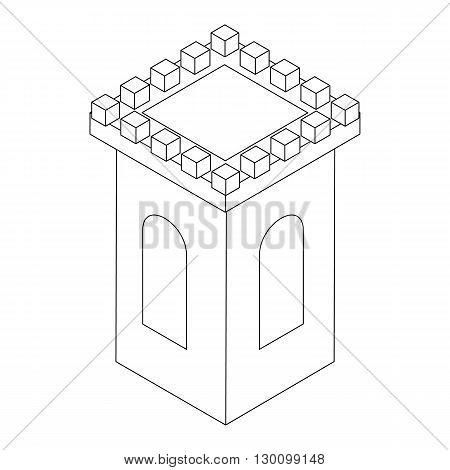 Castle tower icon, isometric 3d style isolated on white background. Black illustration