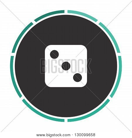 dice 3 Simple flat white vector pictogram on black circle. Illustration icon