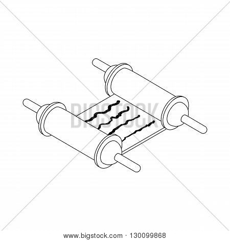 Scroll paper icon in isometric 3d style isolated on white background