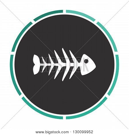 Fish skeleton Simple flat white vector pictogram on black circle. Illustration icon
