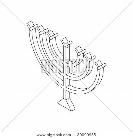 Hanukkah menorah icon in isometric 3d style isolated on white background