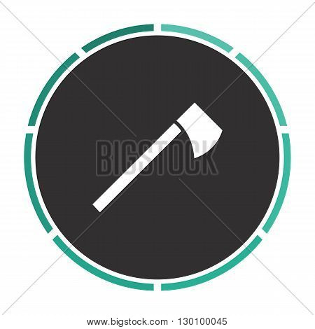 hatchet Simple flat white vector pictogram on black circle. Illustration icon
