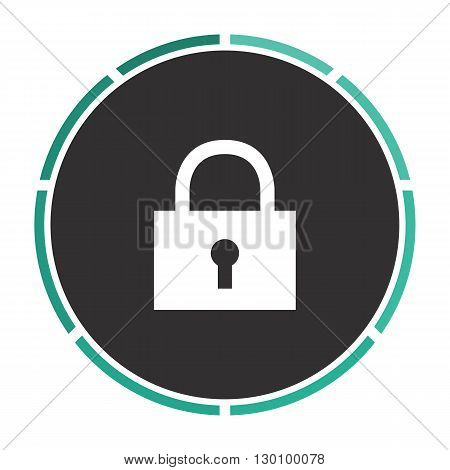 lock pad Simple flat white vector pictogram on black circle. Illustration icon