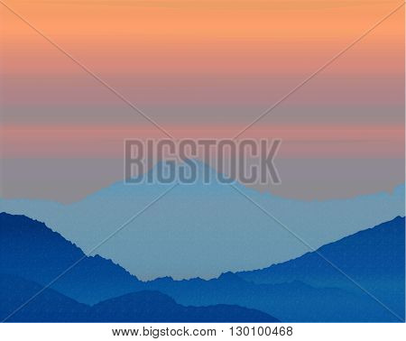 beautiful background. Dawn in the mountains. vector