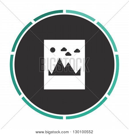 Mountains Simple flat white vector pictogram on black circle. Illustration icon
