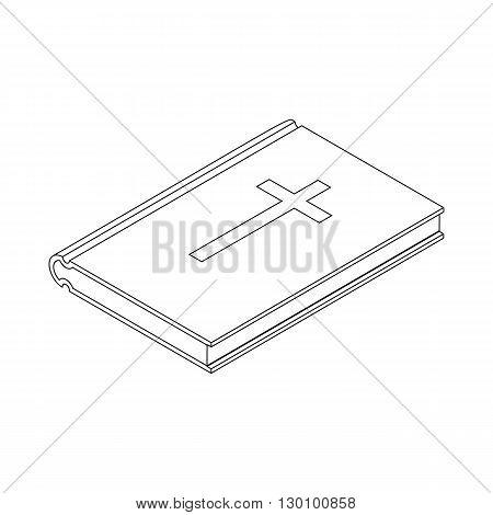 Bible symbol icon, isometric 3d style. Black illustration on white for web